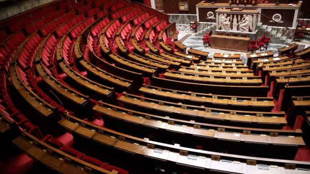 ©Vincent Isore/IP3 press; Paris, France - French national parliament empty hemicycle    (MaxPPP TagID: maxstockworld299305.jpg) [Photo via MaxPPP]